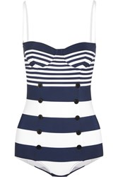 Dolce And Gabbana Striped Swimsuit Navy