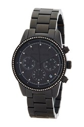 Michael Michael Kors Women's Ritz Crystal Accented Chronograph Bracelet Watch Black