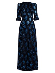 The Vampire's Wife Cate Floral Fil Coupe Midi Dress Black Blue