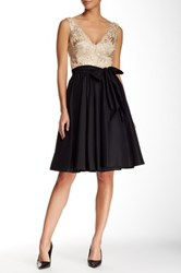 Vera Wang Sleeveless V Neck Lace And Taffeta Flare Dress Black