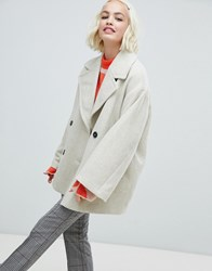 Monki Double Breasted Jacket In Creme White