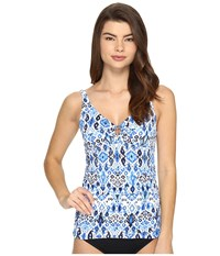 Tommy Bahama Ikat Over The Shoulder Tankini Top With Ring Vivid Blue Women's Swimwear