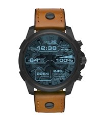 Diesel Black Ip And Leathertouchscreen Smartwatch Brown
