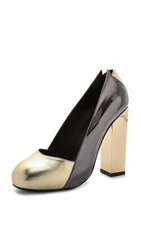 Charline De Luca Lolita Metallic Pumps Gunmetal Gold