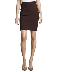 Neiman Marcus Pull On Ponte Pencil Skirt Brown