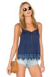 Candc California Ivy Lace Sweep Cami Blue