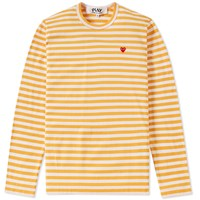 Comme Des Garcons Play Little Red Heart Long Sleeve Striped Tee Yellow