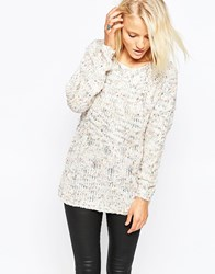 Ax Paris Jumper In Speckle Knit Cream