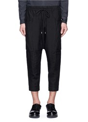 The Viridi Anne Dropped Crotch Cropped Linen Jogging Pants Black