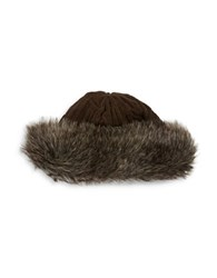 Parkhurst Fleece Lined Faux Fur Trimmed Beanie Brown