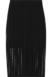 Alexander Wang Open Knit Stretch Cotton Blend Jersey Skirt Black