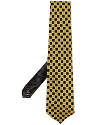 Versace Vintage Checked Tie Yellow