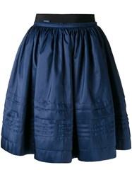 Moncler Pleated Skirt Women Cotton Polyester 40 Blue