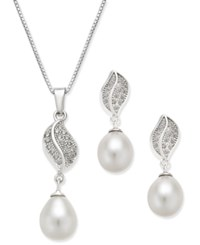Macy's Cultured Freshwater Pearl 7X9mm And Cubic Zirconia Pendant Necklace And Matching Drop Earrings Set In Sterling Silver White