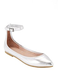 Joie Temple Buckle Leather Ballet Flats Silver