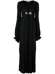 Amen Beaded Panel Maxi Dress Women Viscose Metal Glass 42 Black