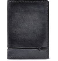 Berluti Jagua Polished Leather Bifold Cardholder Black