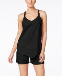 Alfani Eyelet Trim Tank Top And Shorts Pajama Set Only At Macy's Classic Black