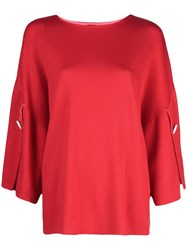 Adam By Adam Lippes Slit Sleeve Knitted Top Red