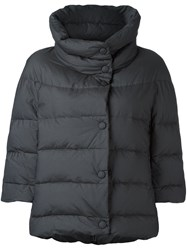 Eleventy Three Quarter Sleeve Puffer Jacket Blue