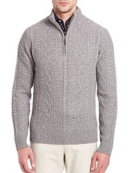 Saks Fifth Avenue Cashmere Braided Sweater Brown