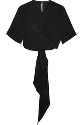 Ellery Dalliance Cropped Crepe Wrap Top Black