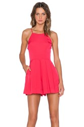 1. State Pleat Front High Neck Romper Red
