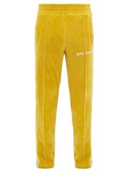 Palm Angels Side Stripe Cotton Blend Velour Track Pants Yellow