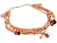 Chan Luu 6' Adjustable Carnelian Multi Strand Pull Tie Single Bracelet Carnelian Mix Bracelet Gold