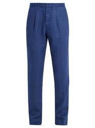 120 Lino Slim Leg Linen Trousers Navy