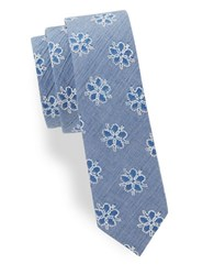 Penguin Floral Chambray Tie Blue