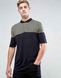 Kiomi Knitted Polo Shirt With Colour Block Green