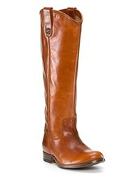 Frye Flat Riding Boots Melissa Button Extended Calf Cognac