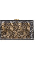 Charlotte Olympia Halloween Lace And Perspex Box Clutch Black