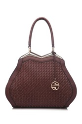 Segolene Paris Woven Vegan Leather Satchel Brown