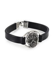 King Baby Studio 0.925 Sterling Silver Baroque Skull Centerpiece Leather Strap Bracelet