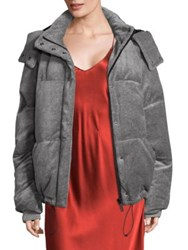 Kendall Kylie Velour Puffer Jacket Medium Heather Grey