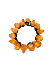 Monies Chunky Facet Bead Necklace Yellow Orange