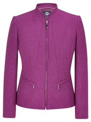 Viyella Boiled Wool Zip Front Jacket Berry