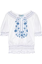 Muzungu Sisters Dora Smocked Embroidered Cotton Poplin Blouse White