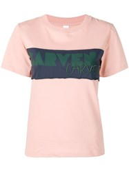 Carven Logo Panel T Shirt Pink And Purple