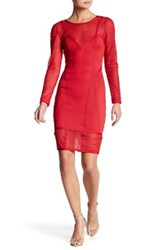 Wow Couture Mesh Panel Long Sleeve Dress Red