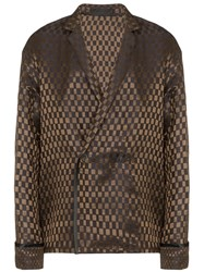 Haider Ackermann Square Pattern Oversized Blazer Brown