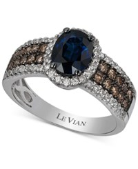 Le Vian Chocolatier Sapphire 1 3 8 Ct. T.W. And Diamond 5 8 Ct. T.W. Ring In 14K White Gold Blue