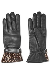 Agnelle Alexa Leopard Print Calf Hair Trimmed Leather Gloves Black