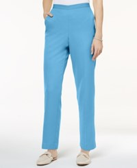 Alfred Dunner Petite Flat Front Pull On Pants Blue