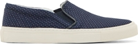 Closed Navy Pin Dot Slip On Shoes
