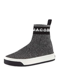 Marc Jacobs Dart Metallic Platform Sock Sneakers Silver Multi