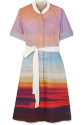Mary Katrantzou Cecilia Belted Printed Stretch Cotton Poplin Dress Pink