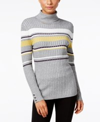 Styleandco. Style Co. Striped Turtleneck Sweater Only At Macy's Grey Combo